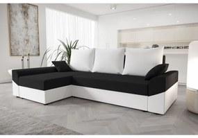 Elegantná rohová sedacia súprava DAGMAR - biela / čierna