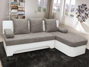 Rohová sedacia súprava Nicki, biela ekokoža/melírovaná tkanina