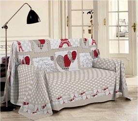 Prikrývka na gauč Paríž červená