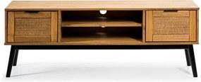 Hnedá TV komoda z borovicového dreva a s dvierkami z ratanu Marckeric Natasha, šírka 140 cm
