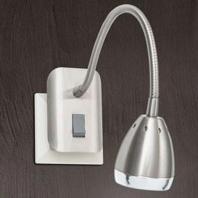 Zásuvkové LED svietidlo Manvel s vypínačom nikel