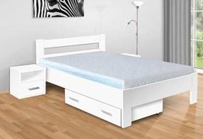 Nabytekmorava Drevená posteľ Sandra 200x120 cm farba lamina: biela 113, typ úložného priestoru: úložný priestor - šuplík, typ matraca: matraca 19 cm Orthopedy maxi