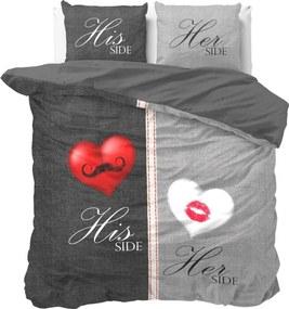 Sivé obliečky na dvojlôžko z čistej bavlny Sleeptime His and Hers, 200×220 cm