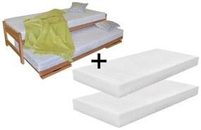 Ahorn Posteľ Duelo + 2 matrace (UM-622) - rozkladacia posteľ s dvomi lôžkami 80 x 200 cm