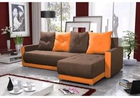 Elegantná sedacia súprava s opierkami LEONARD BIS, hnedá + oranžová