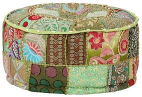 vidaXL Patchwork taburetka z bavlny okrúhla 40x20 cm zelená