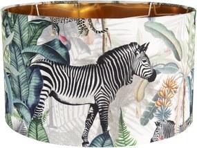 Textilné tienidlo s motívom divokých zvierat Safari - Ø 45 * 28 cm / E27