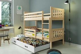 Poschodová posteľ s prístelkou CARINO - 190x80cm - Borovica - Biela