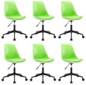 vidaXL Otočné jedálenské stoličky 6 ks zelené umelá koža