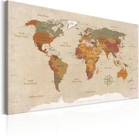 Obraz na plátne Bimago - World Map: Beige Chic 120x80 cm