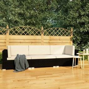 vidaXL 3-dielna záhradná sedacia súprava s podložkami čierna polyratanová