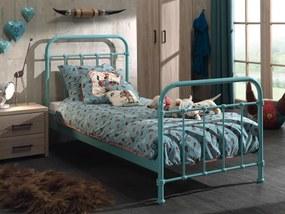 Kovová detská posteľ New York 90 cm tyrkysová