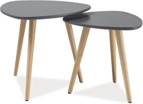 Set príručných stolíkov, sivá / buk, NOLAN A