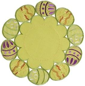 Škodák Veľkonočný obrus vyšívaný vzor 014 maľované vajíčka - okrúhly Ø 30 cm