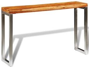 vidaXL Konzolový stolík z dreveného masívu sheesham s oceľovými nohami