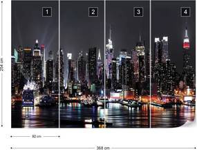 Fototapeta GLIX - New York City Skyline At Night  + lepidlo ZADARMO Papírová tapeta  - 368x254 cm