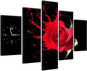 Obraz s hodinami Šplech červená ruža 150x105cm ZP1216A_5H