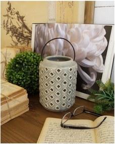 Sivý keramický lampáš Orchidea Milano Antique, výška 18 cm