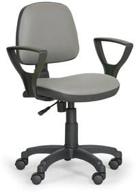 EUROSEAT Pracovná stolička Milano s podpierkami rúk - permanentný kontakt, sivá