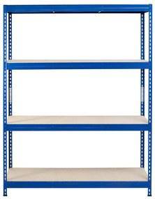Majster Regál Bezskrutkový kovový regál s HDF policou 180x150x60cm, 4 políc, 400kg na policu, modrá farba
