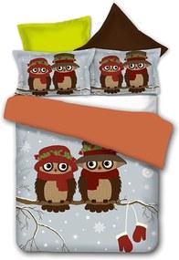 Obojstranné obliečky z mikrovlákna DecoKing Owls Winterstory, 135 × 200 cm