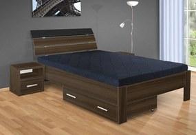 Nabytekmorava Drevená posteľ Darina 200x120 cm farba lamina: orech 729, typ úložného priestoru: bez úložného priestoru, typ matraca: matraca 15 cm