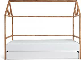 BE Detská posteľ domček JULKO biela 200x90 so zásuvkou