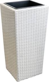 [neu.haus]® Pletený kvetináč - 26x26x50 cm - biely