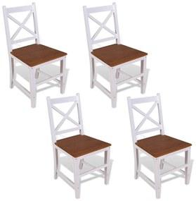 vidaXL Jedálenské stoličky, 4 ks, masívne teakové a mahagónové drevo