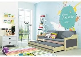 Detská posteľ alebo gauč s výsuvnou posteľou DAVID 190x80 cm Šedá Bílá