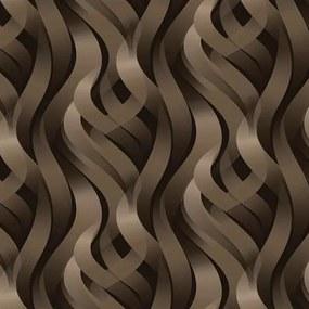 Vinylové tapety, 3D abstrakt hnedý, Kinetic J42808, UGEPA, rozmer 10,05 m x 0,53 m