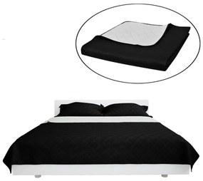 Čierno biela obojstranná prešívaná prikrývka na posteľ 220 x 240 cm