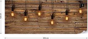 Fototapeta GLIX - Industrial Chic Retro Light Bulbs Wood  + lepidlo ZADARMO Vliesová tapeta  - 250x104 cm