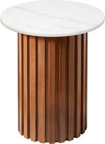 Biely mramorový stolík s dubovým podnožím RGE Moon, ⌀ 50 cm