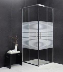 MEXEN RIO - Štvorcový sprchovací kút 90x90 cm, priehľadná / pásy, 860-090-090-01-20