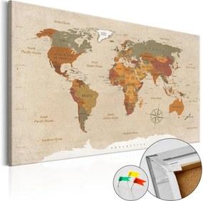 Nástenka s mapou sveta Artgeist Beige Chic 90 × 60 cm