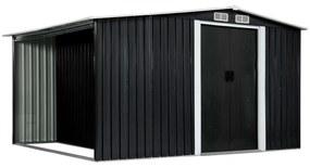 vidaXL Záhradná kôlňa s posuvnými dverami antracitová 329,5x205x178 cm oceľová