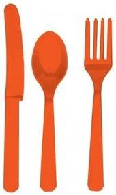 Amscan Oranžový plastový príbor pre 8 ľudí