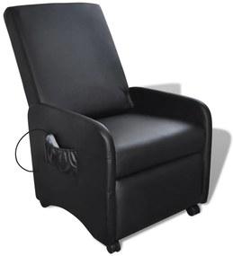 Elektrické masážne nastaviteľné kreslo z umelej kože, čierne