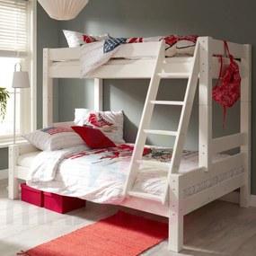 MAXMAX Detská poschodová posteľ s rozšíreným spodným lôžkom z MASÍVU 200x90 cm bez šuplíku PAVLÍNA