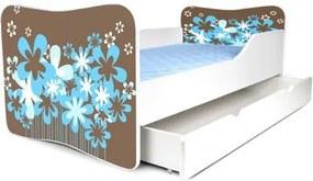 MAXMAX Detská posteľ so zásuvkou KVETY HNEDÉ + matrac ZADARMO