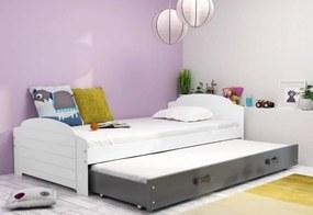 Expedo Detská posteľ DOUGY P2 + matrac + rošt ZADARMO, 90x200, biela+grafitová