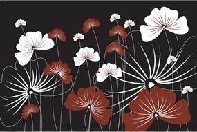 Dimex SK Fototapeta Maľované kvety v čiernom MS 156, 3 rôzne rozmery XL - š-375 x v-250 cm