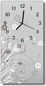 Nástenné hodiny vertikálne  Kvetinový šedý vzor