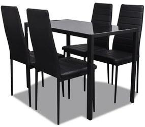 5-dielny set jedálenského stola, čierny