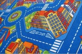 MAXMAX Detský koberec ULIČKA BIG CITY - modrý