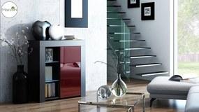 Mazzoni MILA 1D LED skrinka čierna / burgund lesk, obývacia izba