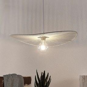 Závesná lampa Frido z krúteného papiera, biela