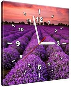Obraz s hodinami Úžasná levanduľová krajina 30x30cm ZP1996A_1AI