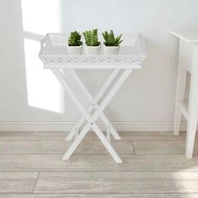 vidaXL Príručný stolík s podnosom, biely